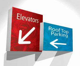 2 panneaux illustrant des accès aux ascenseurs ou au parking sur le toit. Purement illustratif