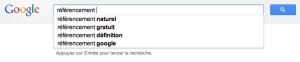 Google Suggest en pratique - le terme de recherche: référencement