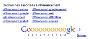 Google Recherches associées en pratique - le terme de recherche: référencement