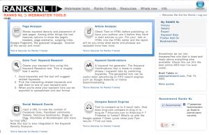page d'accueil du site ranks.nl - outil du référencement naturel