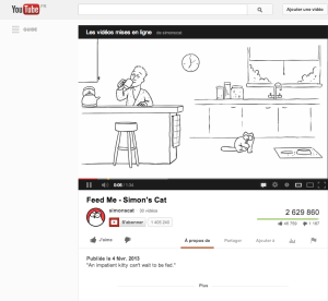 Une vidéo de Simon's Cat, avec une petite citation introductive.