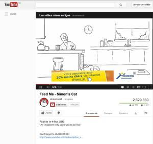 La même vidéo de Simon's cat, avec l'ensemble de la description visible.