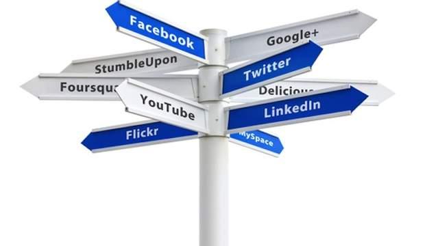 panneaux directionnels avec réseaux sociaux