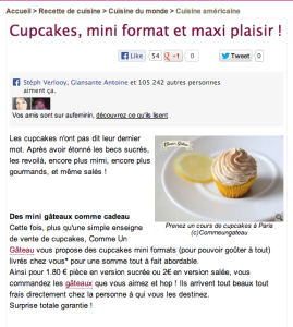 Fiche recette cupcake - site aufeminin.be