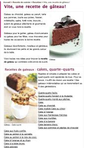 Landing page sur les gâteaux - site aufeminin.be