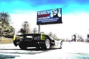Publicité pour la candidature présidentielle de Barack Obama dans Burnout Paradise (2008).