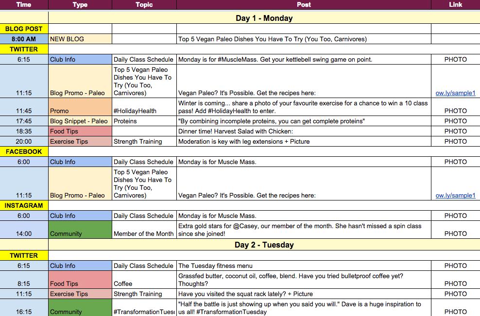Crire pour le web le calendrier ditorial pour les for Social media posting calendar template