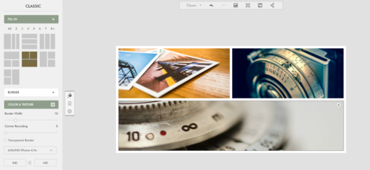 éditer des photos en ligne, exemple d'un collage
