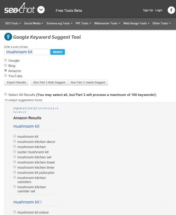 Référencement sur Amazon: SEO Chat Keyword Suggest Tool