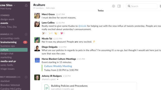 Slack est LA plateforme de communication collaborative simple et facile. En clair, un chat survitaminé grâce à ses outils intégrés.